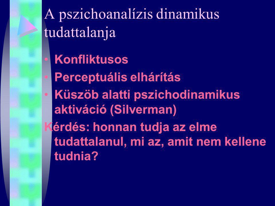 A pszichoanalízis dinamikus tudattalanja Konfliktusos Perceptuális elhárítás Küszöb alatti pszichodinamikus aktiváció (Silverman) Kérdés: honnan tudja