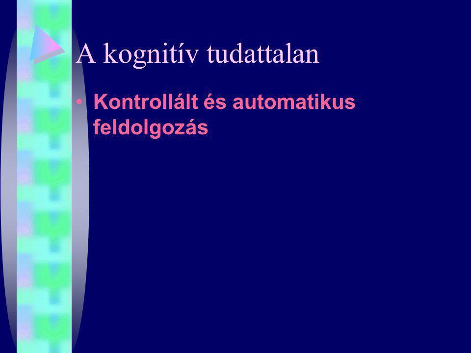 A kognitív tudattalan Kontrollált és automatikus feldolgozás