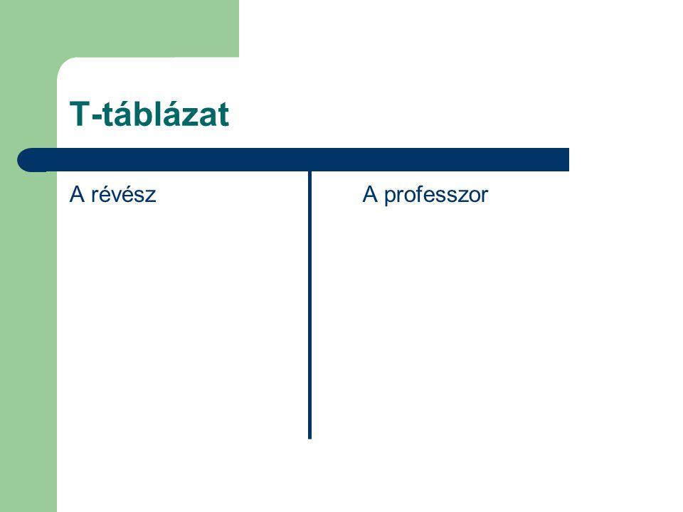 T-táblázat A révészA professzor
