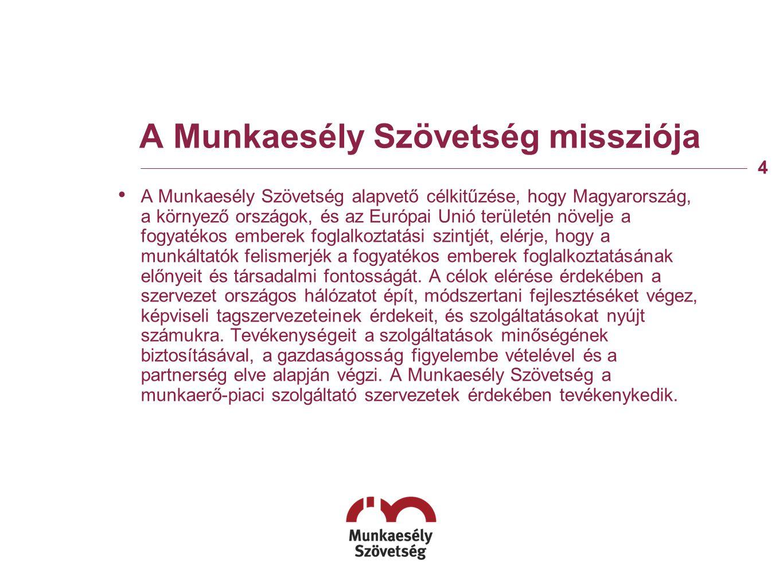 A Munkaesély Szövetség missziója A Munkaesély Szövetség alapvető célkitűzése, hogy Magyarország, a környező országok, és az Európai Unió területén növelje a fogyatékos emberek foglalkoztatási szintjét, elérje, hogy a munkáltatók felismerjék a fogyatékos emberek foglalkoztatásának előnyeit és társadalmi fontosságát.