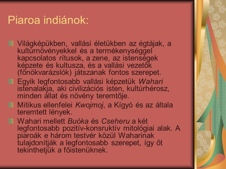 Piaroa indiánok: Világképükben, vallási életükben az égtájak, a kultúrnövényekkel és a termékenységgel kapcsolatos rítusok, a zene, az istenségek képz