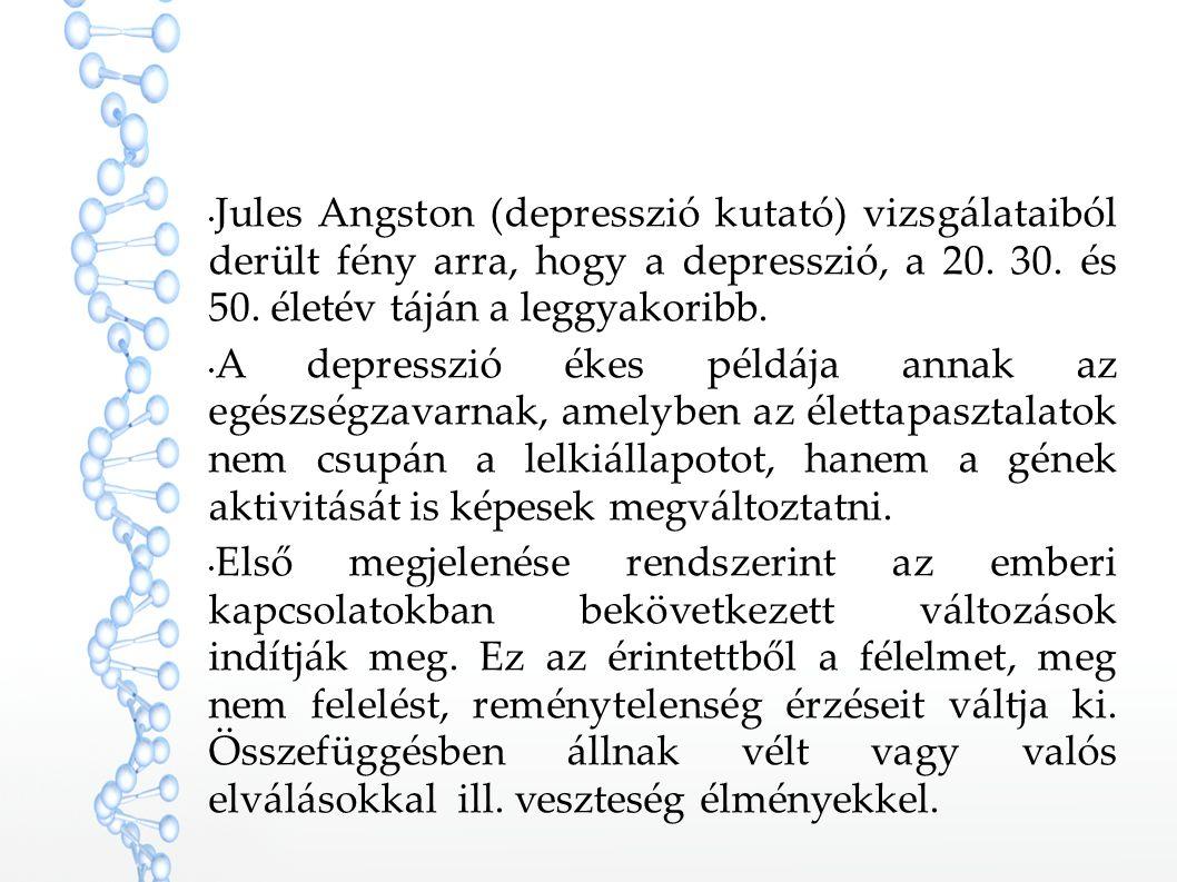 Jules Angston (depresszió kutató) vizsgálataiból derült fény arra, hogy a depresszió, a 20. 30. és 50. életév táján a leggyakoribb. A depresszió ékes