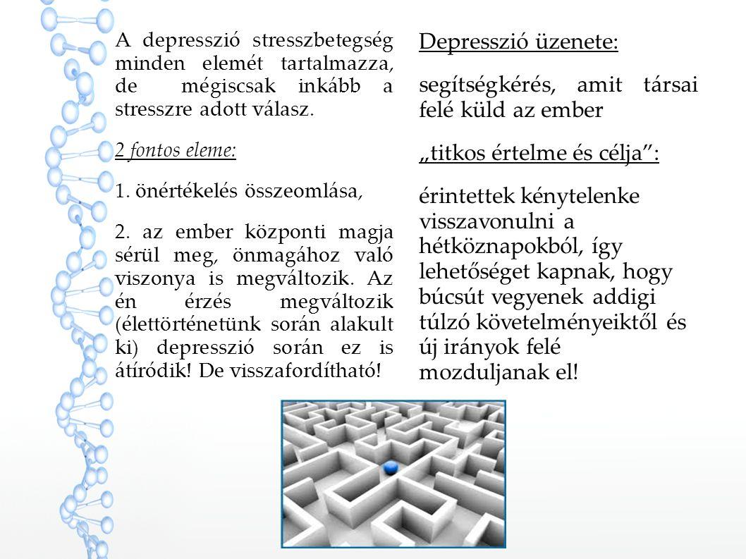 A depresszió stresszbetegség minden elemét tartalmazza, de mégiscsak inkább a stresszre adott válasz. 2 fontos eleme: 1. önértékelés összeomlása, 2. a