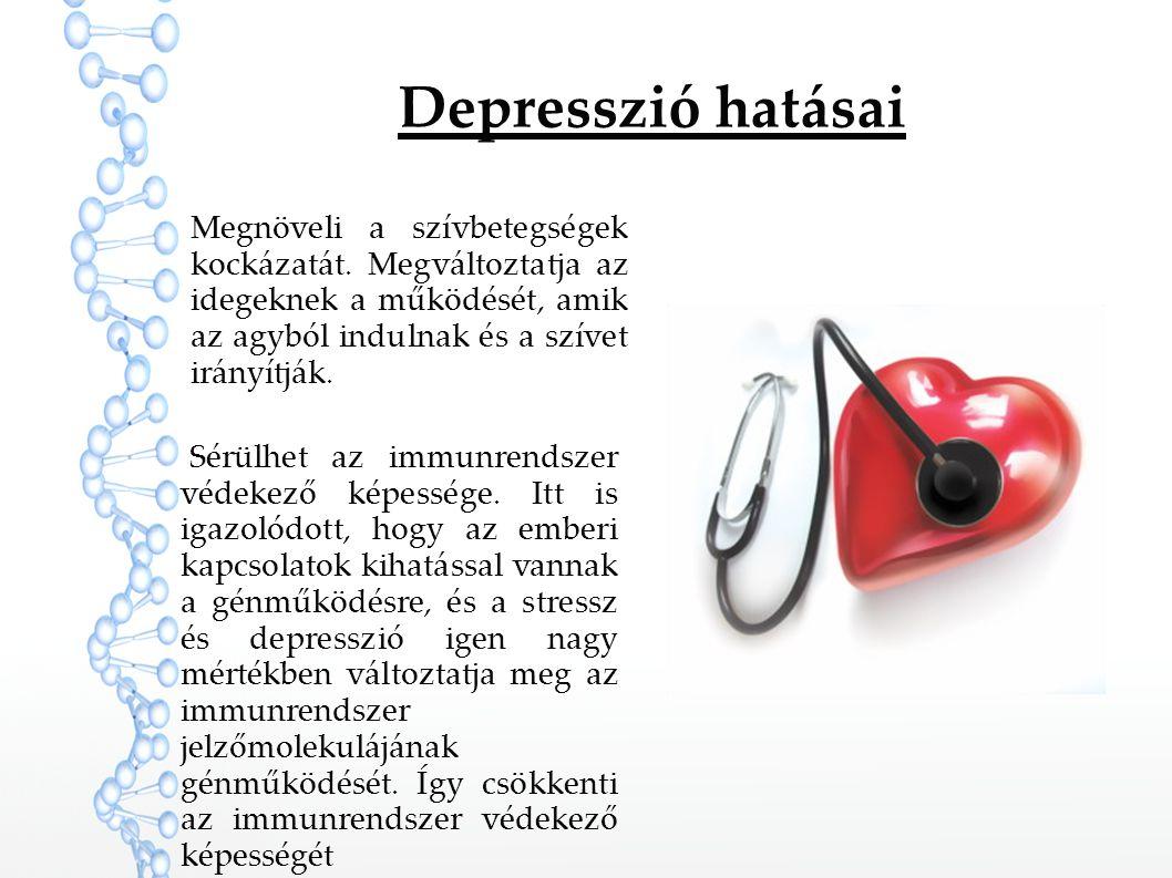 Depresszió hatásai Megnöveli a szívbetegségek kockázatát. Megváltoztatja az idegeknek a működését, amik az agyból indulnak és a szívet irányítják. Sér