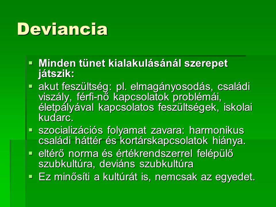 Deviancia  Minden tünet kialakulásánál szerepet játszik:  akut feszültség: pl. elmagányosodás, családi viszály, férfi-nő kapcsolatok problémái, élet