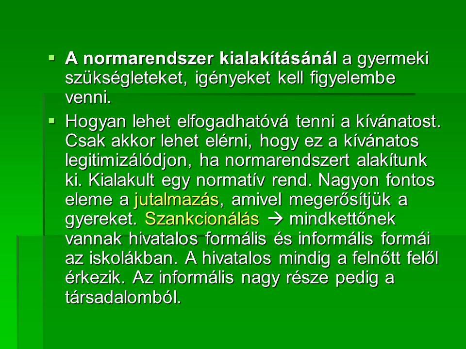  A szankcionális normarendszer:  megbüntetik a gyermeket  kizárás valamiből, amiben nem kötelező részt venni (szegregáció erősítése)  levegőnek nézik, amivel szintén az ellenkezőjét érik el.