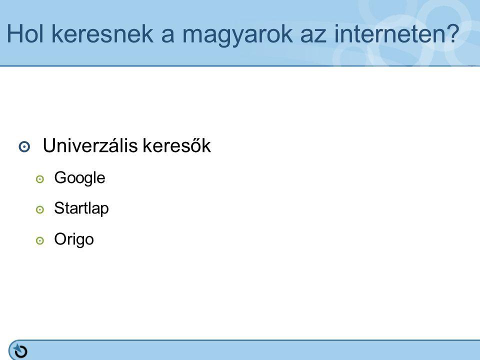 Hol keresnek a magyarok az interneten? ๏ Univerzális keresők ๏ Google ๏ Startlap ๏ Origo