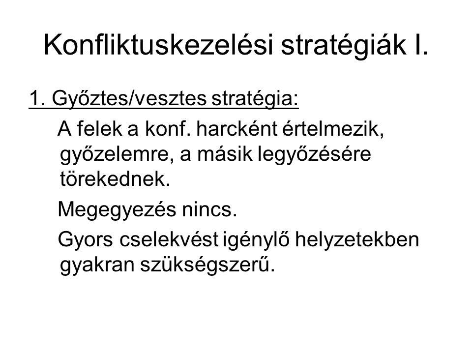 Konfliktuskezelési stratégiák I. 1. Győztes/vesztes stratégia: A felek a konf. harcként értelmezik, győzelemre, a másik legyőzésére törekednek. Megegy