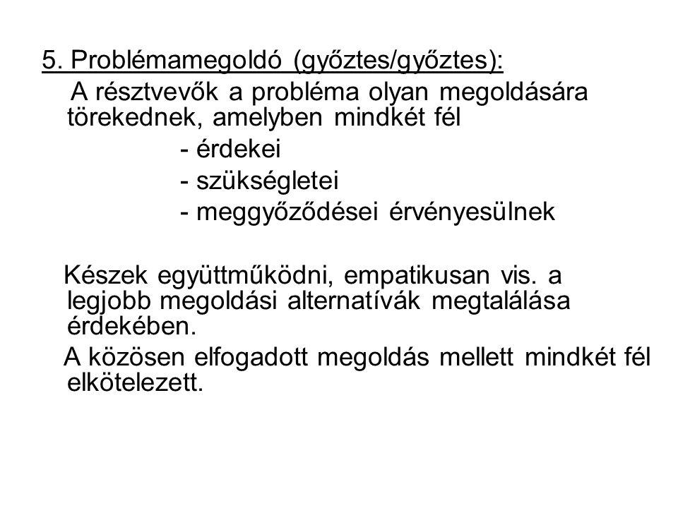 5. Problémamegoldó (győztes/győztes): A résztvevők a probléma olyan megoldására törekednek, amelyben mindkét fél - érdekei - szükségletei - meggyőződé