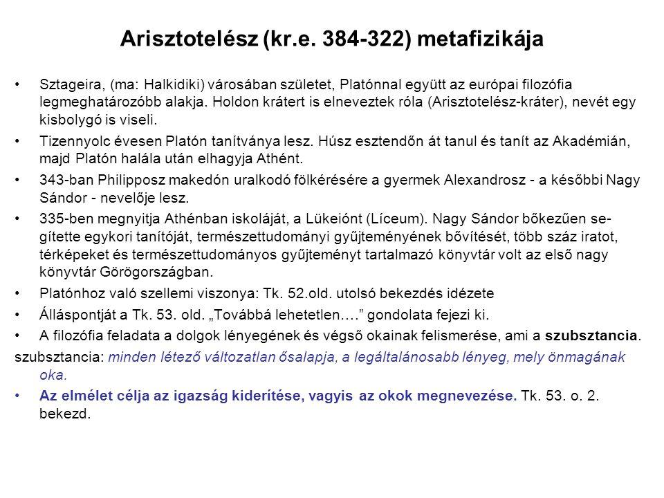Arisztotelész (kr.e. 384-322) metafizikája Sztageira, (ma: Halkidiki) városában születet, Platónnal együtt az európai filozófia legmeghatározóbb alakj