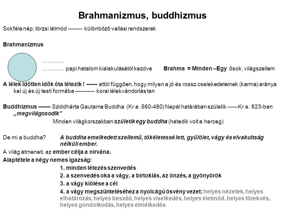 Brahmanizmus, buddhizmus Sokféle nép, törzsi létmód -------- különböző vallási rendszerek Brahmanizmus ………… ………… papi hatalom kialakulásától kezdve Br