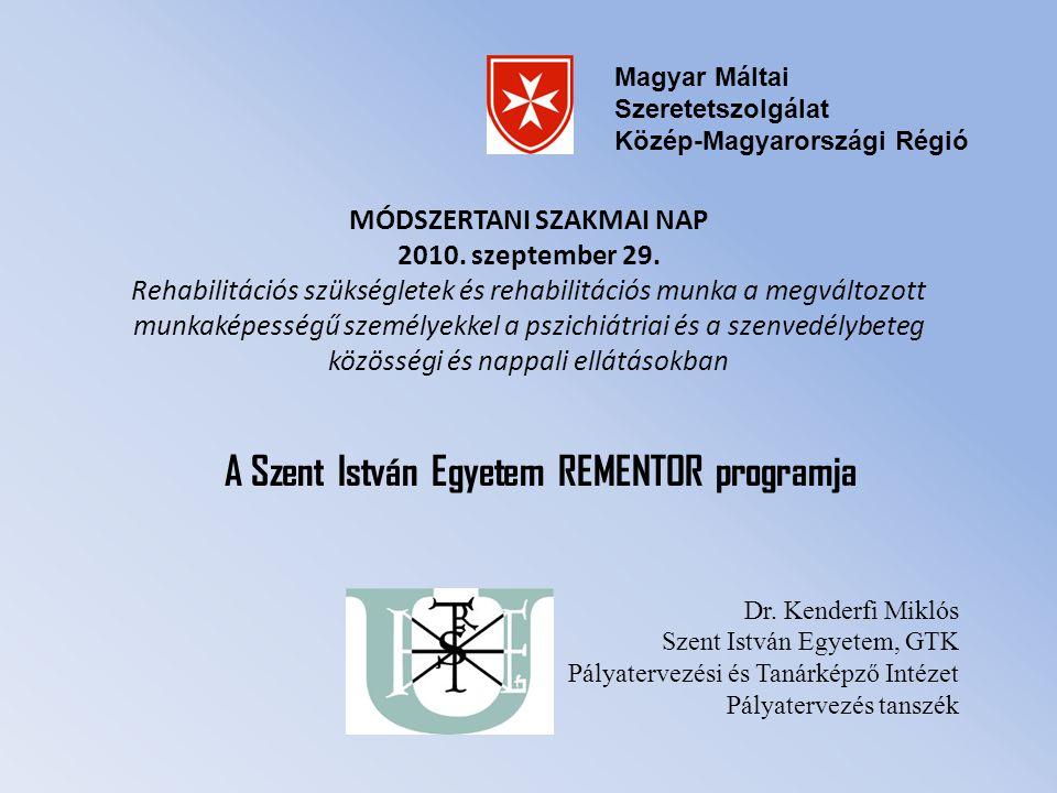 MÓDSZERTANI SZAKMAI NAP 2010. szeptember 29. Rehabilitációs szükségletek és rehabilitációs munka a megváltozott munkaképességű személyekkel a pszichiá
