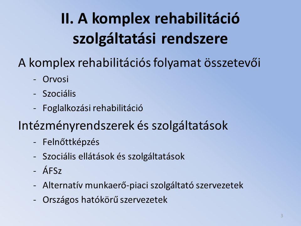 II. A komplex rehabilitáció szolgáltatási rendszere A komplex rehabilitációs folyamat összetevői -Orvosi -Szociális -Foglalkozási rehabilitáció Intézm