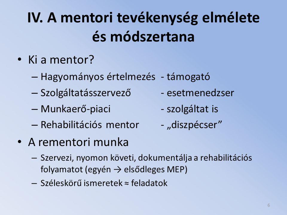 IV. A mentori tevékenység elmélete és módszertana Ki a mentor? – Hagyományos értelmezés - támogató – Szolgáltatásszervező - esetmenedzser – Munkaerő-p