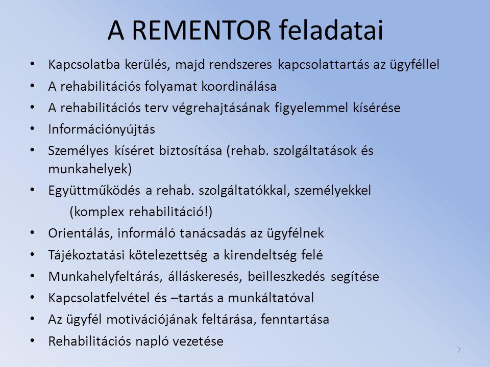 A REMENTOR feladatai Kapcsolatba kerülés, majd rendszeres kapcsolattartás az ügyféllel A rehabilitációs folyamat koordinálása A rehabilitációs terv vé