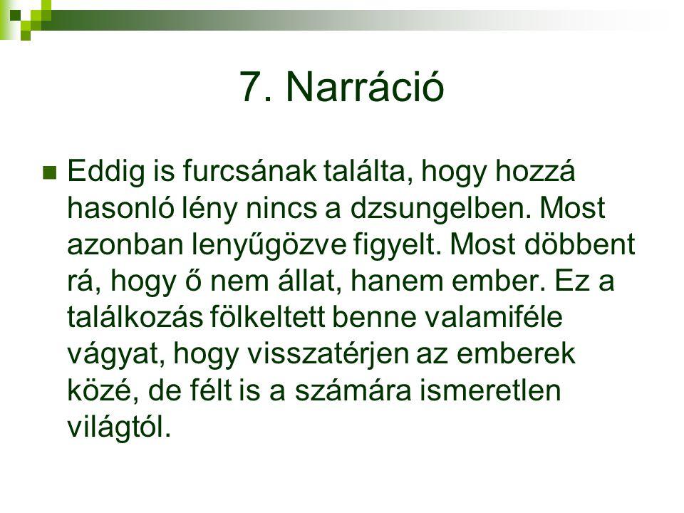 7.Narráció Eddig is furcsának találta, hogy hozzá hasonló lény nincs a dzsungelben.