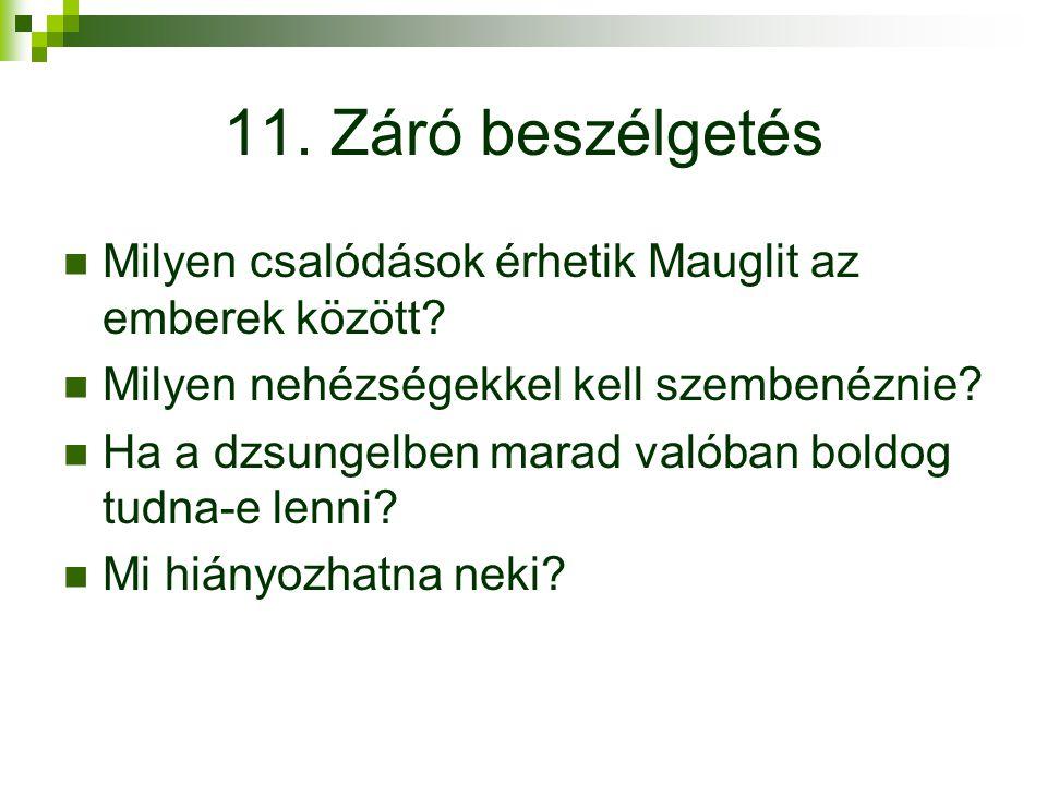 11.Záró beszélgetés Milyen csalódások érhetik Mauglit az emberek között.