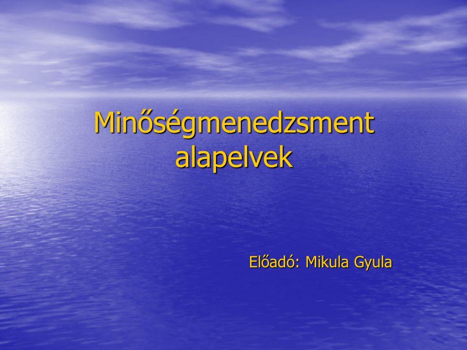 Minőségmenedzsment alapelvek Előadó: Mikula Gyula