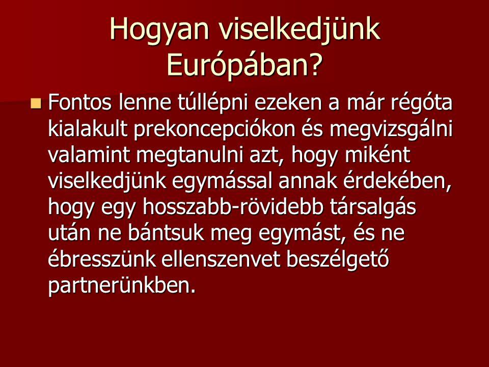 Hogyan viselkedjünk Európában? Fontos lenne túllépni ezeken a már régóta kialakult prekoncepciókon és megvizsgálni valamint megtanulni azt, hogy mikén
