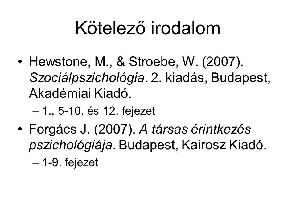Kötelező irodalom Hewstone, M., & Stroebe, W. (2007). Szociálpszichológia. 2. kiadás, Budapest, Akadémiai Kiadó. –1., 5-10. és 12. fejezet Forgács J.