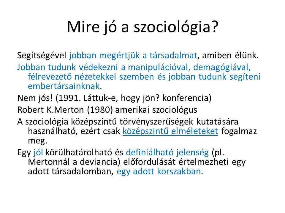 Mire jó a szociológia? Segítségével jobban megértjük a társadalmat, amiben élünk. Jobban tudunk védekezni a manipulációval, demagógiával, félrevezető