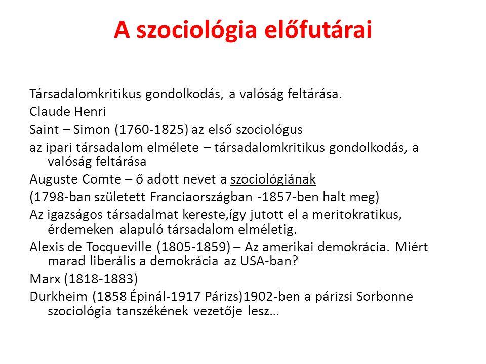 A szociológia előfutárai Társadalomkritikus gondolkodás, a valóság feltárása. Claude Henri Saint – Simon (1760-1825) az első szociológus az ipari társ