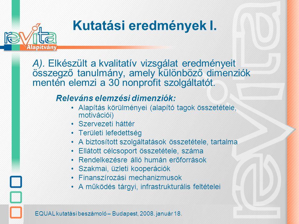 EQUAL kutatási beszámoló – Budapest, 2008. január 18.