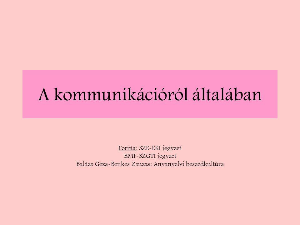 A kommunikációról általában Forrás: SZE-EKI jegyzet BMF-SZGTI jegyzet Balázs Géza-Benkes Zsuzsa: Anyanyelvi beszédkultúra