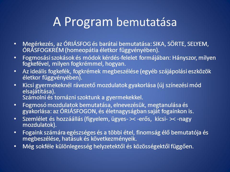 A Program bemutatása Megérkezés, az ÓRIÁSFOG és barátai bemutatása: SIKA, SÖRTE, SELYEM, ÓRÁSFOGKRÉM (homeopátia életkor függvényében). Fogmosási szok