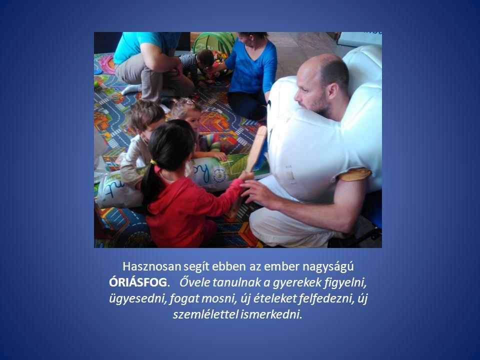 Hasznosan segít ebben az ember nagyságú ÓRIÁSFOG. Ővele tanulnak a gyerekek figyelni, ügyesedni, fogat mosni, új ételeket felfedezni, új szemlélettel