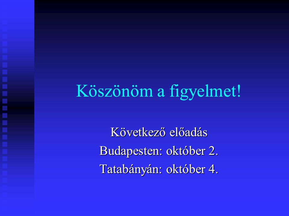 Köszönöm a figyelmet! Következő előadás Budapesten: október 2. Tatabányán: október 4.