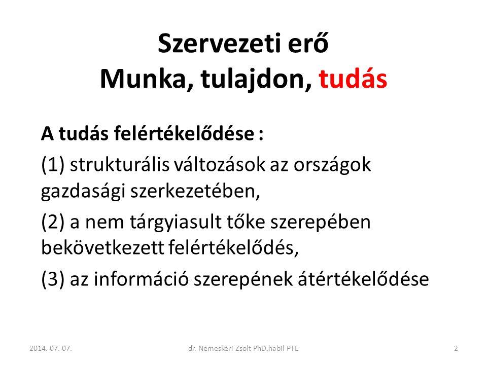Szervezeti erő Munka, tulajdon, tudás A tudás felértékelődése : (1) strukturális változások az országok gazdasági szerkezetében, (2) a nem tárgyiasult