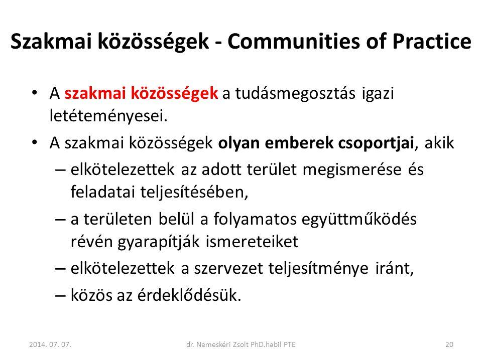 Szakmai közösségek - Communities of Practice A szakmai közösségek a tudásmegosztás igazi letéteményesei. A szakmai közösségek olyan emberek csoportjai