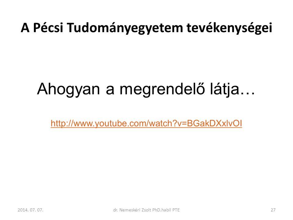 A Pécsi Tudományegyetem tevékenységei 2014. 07. 07.27dr. Nemeskéri Zsolt PhD.habil PTE