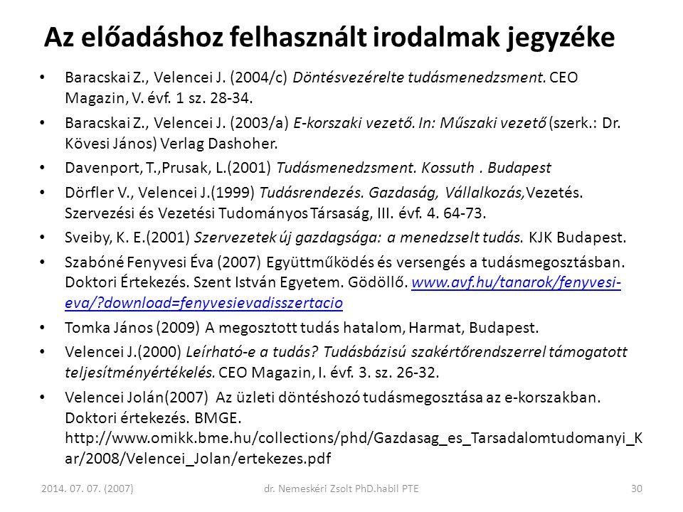 Baracskai Z., Velencei J. (2004/c) Döntésvezérelte tudásmenedzsment. CEO Magazin, V. évf. 1 sz. 28-34. Baracskai Z., Velencei J. (2003/a) E-korszaki v