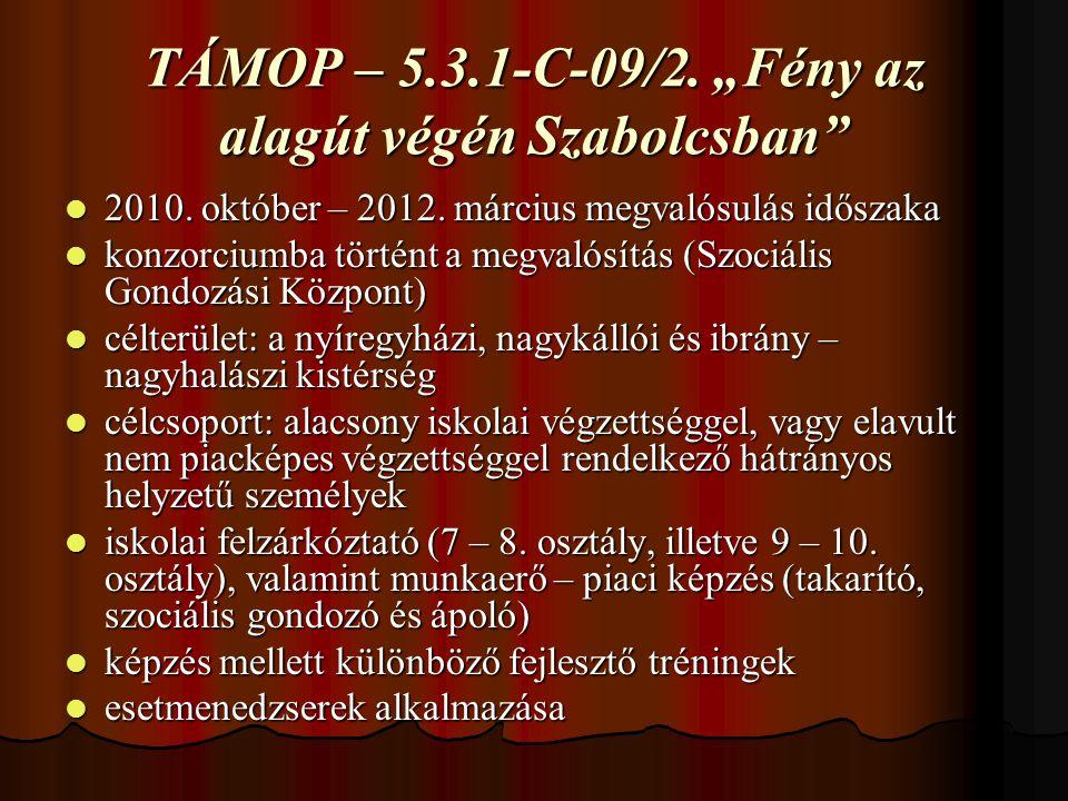 """TÁMOP – 5.3.1-C-09/2. """"Fény az alagút végén Szabolcsban 2010."""