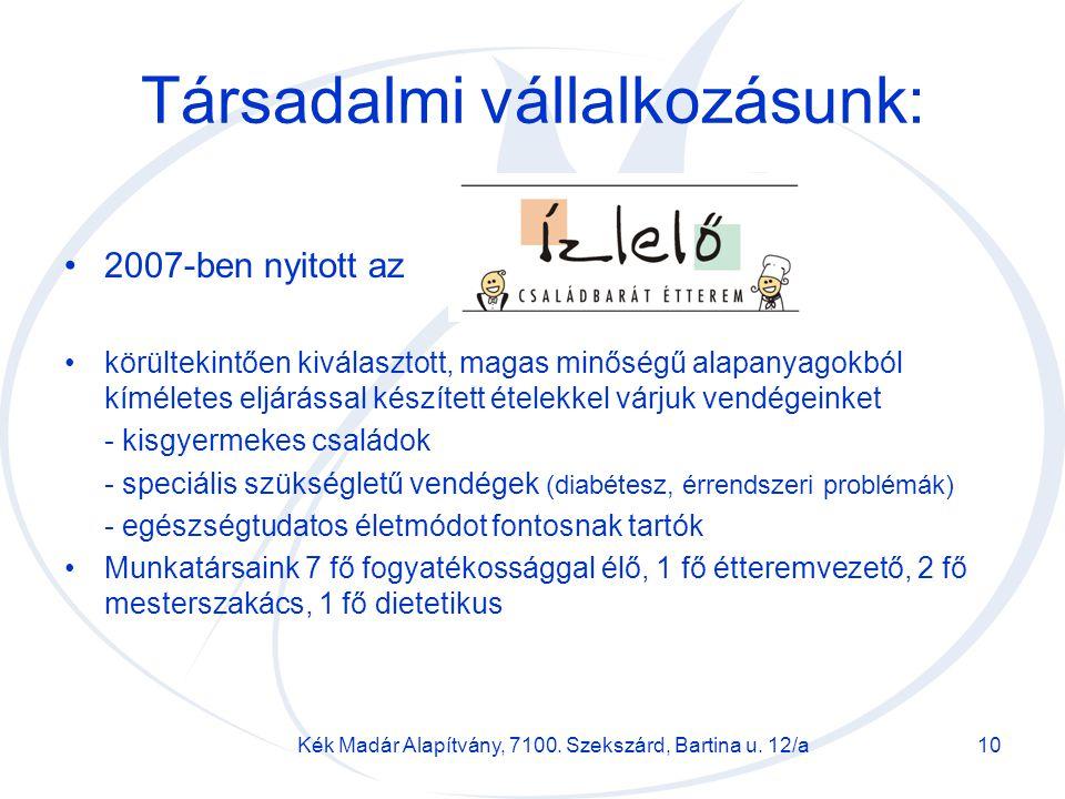 Kék Madár Alapítvány, 7100. Szekszárd, Bartina u. 12/a10 Társadalmi vállalkozásunk: 2007-ben nyitott az körültekintően kiválasztott, magas minőségű al