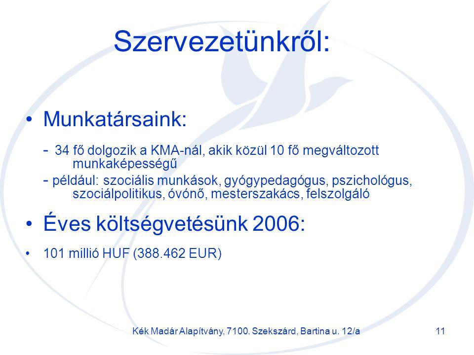 Kék Madár Alapítvány, 7100. Szekszárd, Bartina u. 12/a11 Szervezetünkről: Munkatársaink: - 34 fő dolgozik a KMA-nál, akik közül 10 fő megváltozott mun