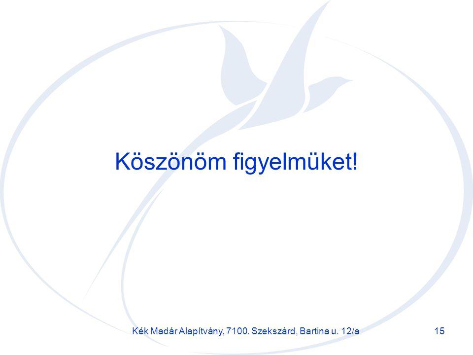 Kék Madár Alapítvány, 7100. Szekszárd, Bartina u. 12/a15 Köszönöm figyelmüket!