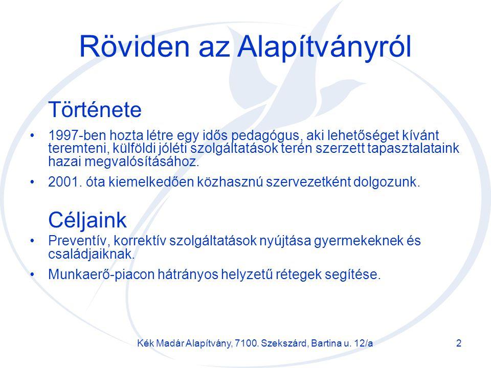 Kék Madár Alapítvány, 7100. Szekszárd, Bartina u. 12/a2 Röviden az Alapítványról Története 1997-ben hozta létre egy idős pedagógus, aki lehetőséget kí
