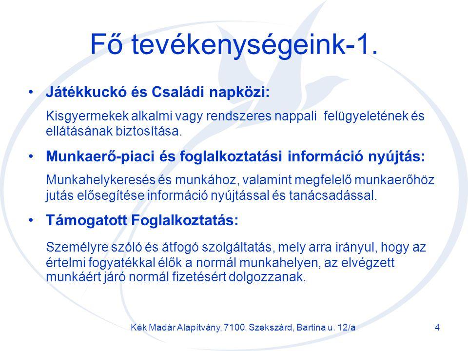 Kék Madár Alapítvány, 7100. Szekszárd, Bartina u. 12/a4 Fő tevékenységeink-1. Játékkuckó és Családi napközi: Kisgyermekek alkalmi vagy rendszeres napp