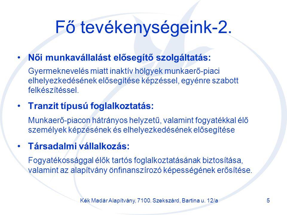Kék Madár Alapítvány, 7100. Szekszárd, Bartina u. 12/a5 Fő tevékenységeink-2. Női munkavállalást elősegítő szolgáltatás: Gyermeknevelés miatt inaktív