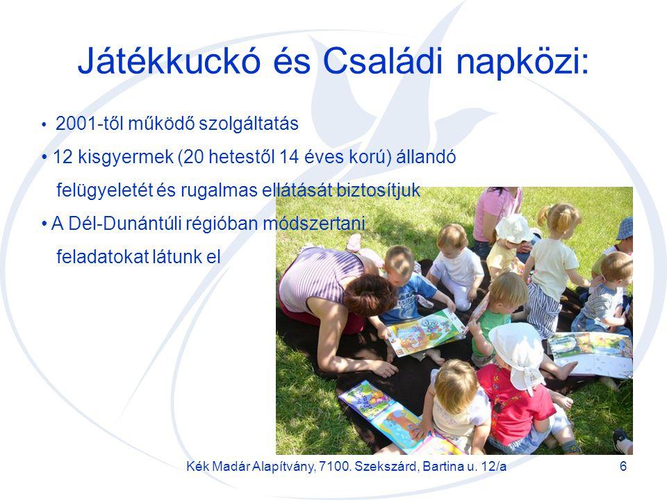 Kék Madár Alapítvány, 7100. Szekszárd, Bartina u. 12/a6 Játékkuckó és Családi napközi: 2001-től működő szolgáltatás 12 kisgyermek (20 hetestől 14 éves
