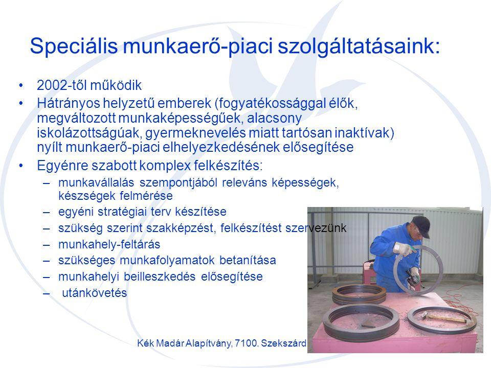 Kék Madár Alapítvány, 7100. Szekszárd, Bartina u. 12/a7 Speciális munkaerő-piaci szolgáltatásaink: 2002-től működik Hátrányos helyzetű emberek (fogyat