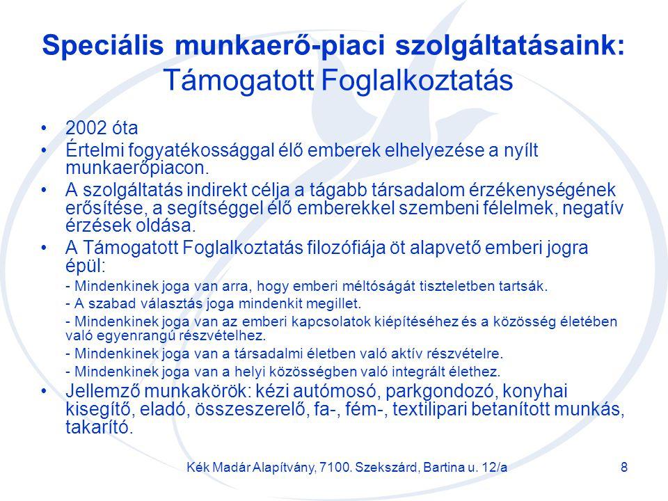 Kék Madár Alapítvány, 7100. Szekszárd, Bartina u. 12/a8 Speciális munkaerő-piaci szolgáltatásaink: Támogatott Foglalkoztatás 2002 óta Értelmi fogyaték