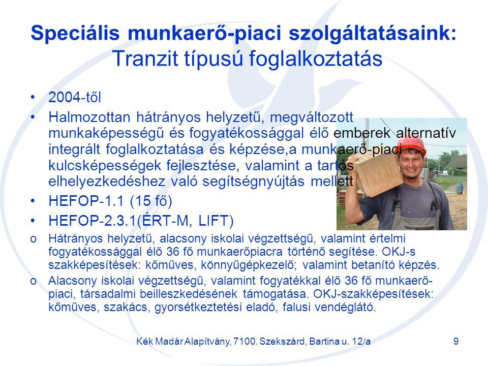 Kék Madár Alapítvány, 7100. Szekszárd, Bartina u. 12/a9 Speciális munkaerő-piaci szolgáltatásaink: Tranzit típusú foglalkoztatás 2004-től Halmozottan