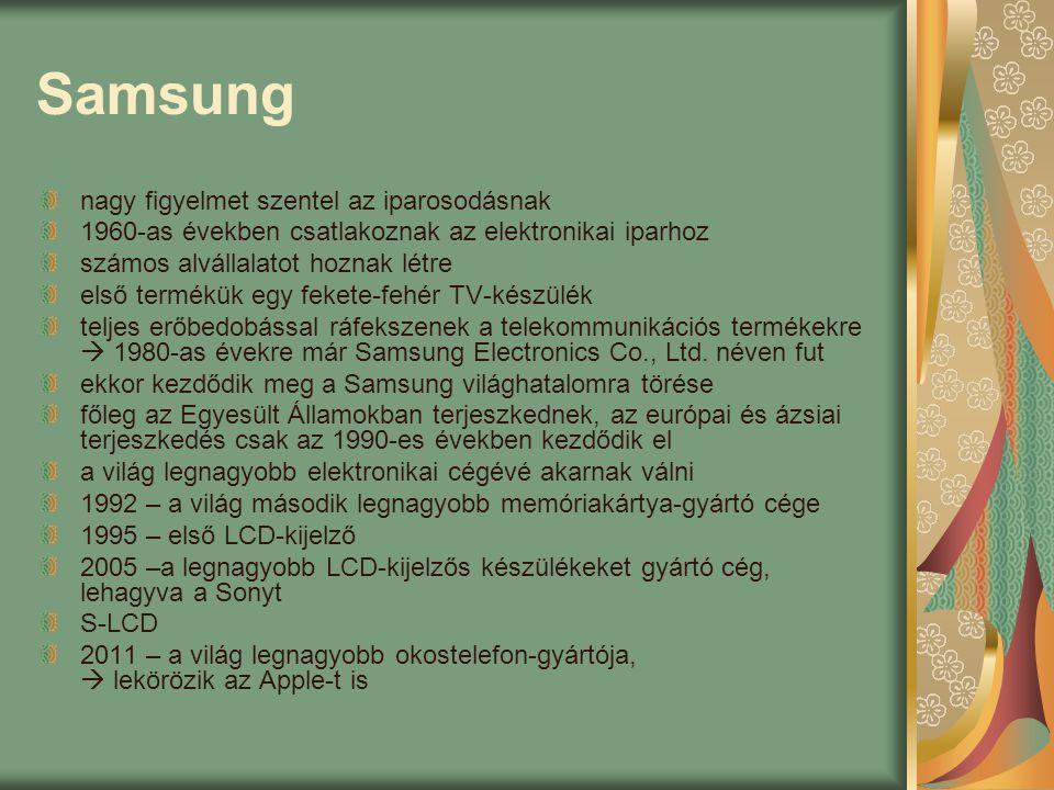 Samsung nagy figyelmet szentel az iparosodásnak 1960-as években csatlakoznak az elektronikai iparhoz számos alvállalatot hoznak létre első termékük egy fekete-fehér TV-készülék teljes erőbedobással ráfekszenek a telekommunikációs termékekre  1980-as évekre már Samsung Electronics Co., Ltd.
