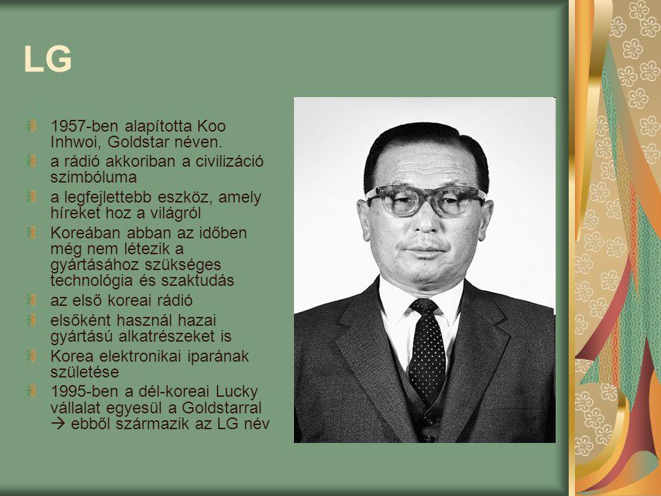 LG 1957-ben alapította Koo Inhwoi, Goldstar néven. a rádió akkoriban a civilizáció szimbóluma a legfejlettebb eszköz, amely híreket hoz a világról Kor