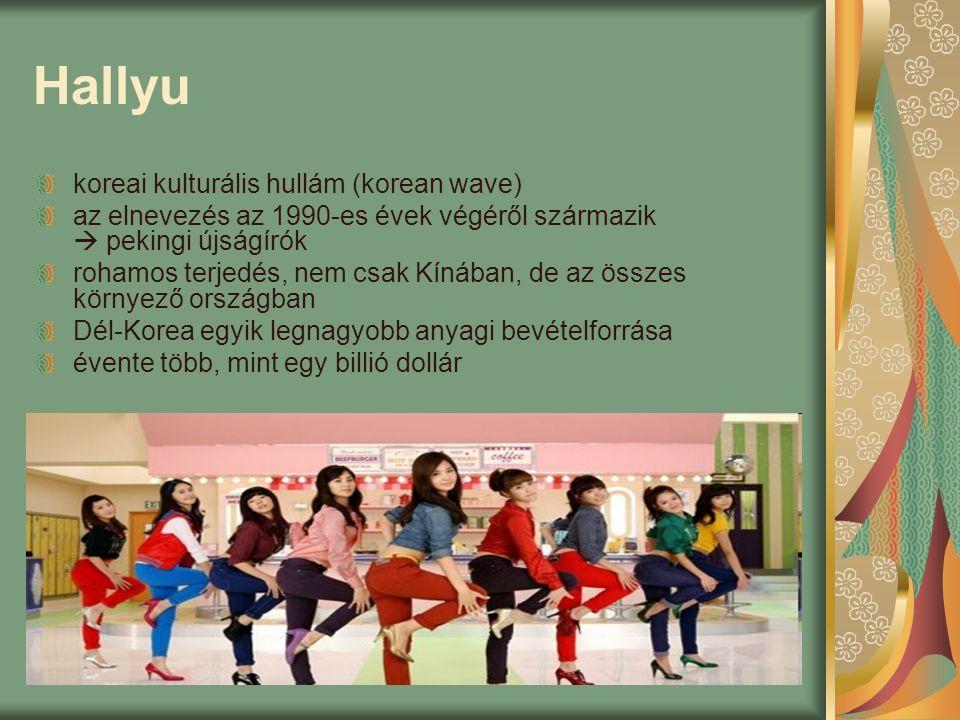 Hallyu koreai kulturális hullám (korean wave) az elnevezés az 1990-es évek végéről származik  pekingi újságírók rohamos terjedés, nem csak Kínában, d