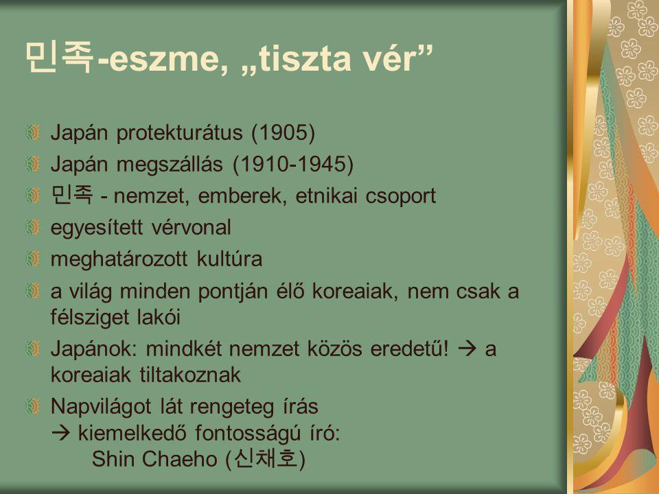 """민족 -eszme, """"tiszta vér Japán protekturátus (1905) Japán megszállás (1910-1945) 민족 - nemzet, emberek, etnikai csoport egyesített vérvonal meghatározott kultúra a világ minden pontján élő koreaiak, nem csak a félsziget lakói Japánok: mindkét nemzet közös eredetű."""